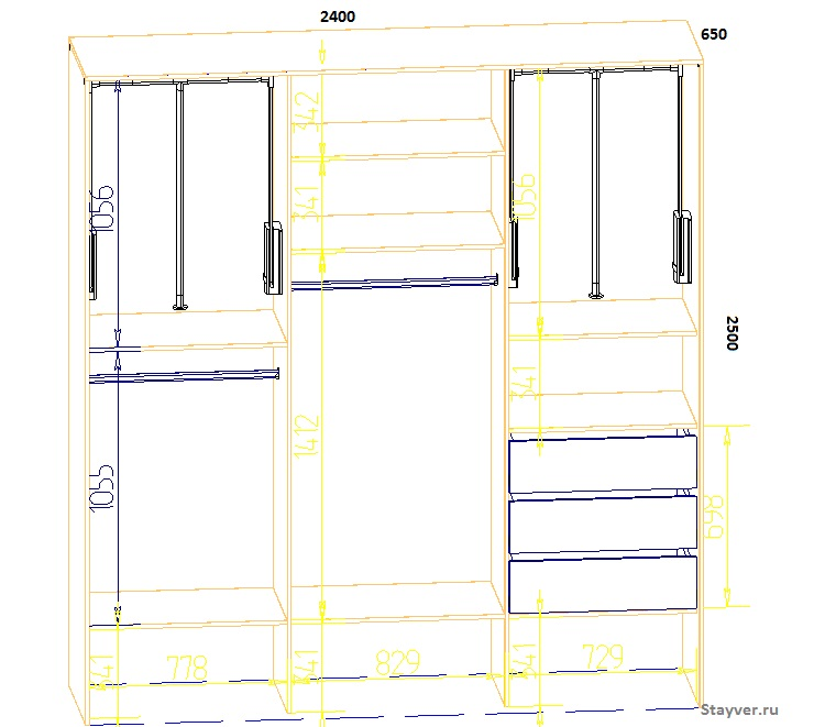 проект шкафа купе с размерам