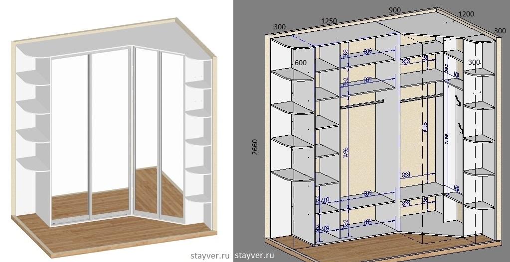 Встроенный угловой шкаф своими руками чертежи и схемы 444