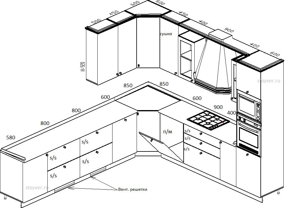 Чертежи и размеры кухонной мебели своими руками 89