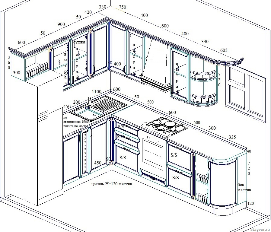 Чертеж голубой кухни из массива дуба. Фабрика мебели Стайвер-100
