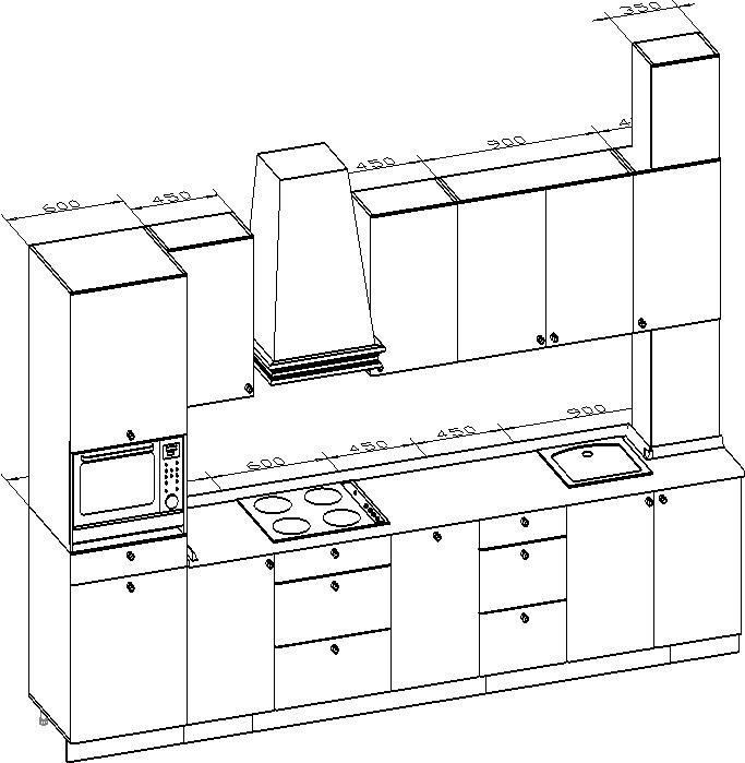 чертеж кухни МДФ с фрезеровкой Аскет