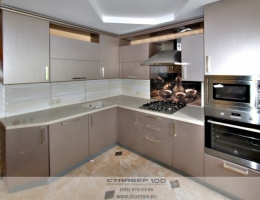 Угловая кухня цвета Техно шампань фото