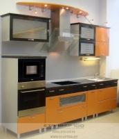 Фото прямоугольной кухни оранжевого цвета