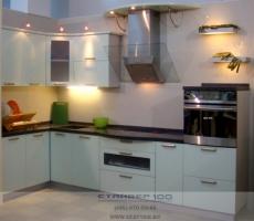 Кухня цвета Фисташка глянец фото
