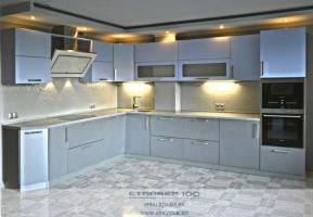 Кухня Серого и голубого цвета фото