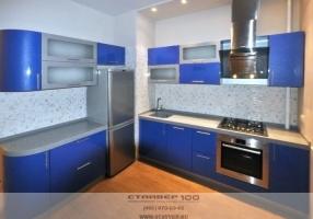 Фото кухни серого и синего цвета