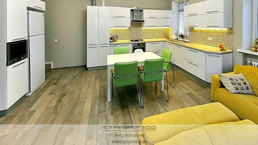 Кухня модерн  Белый глянец и Серый камень фото