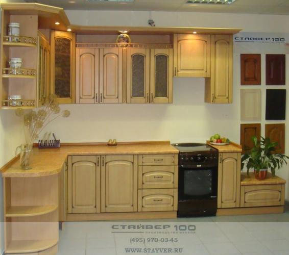 Кухня МДФ цвета Бук с патиной