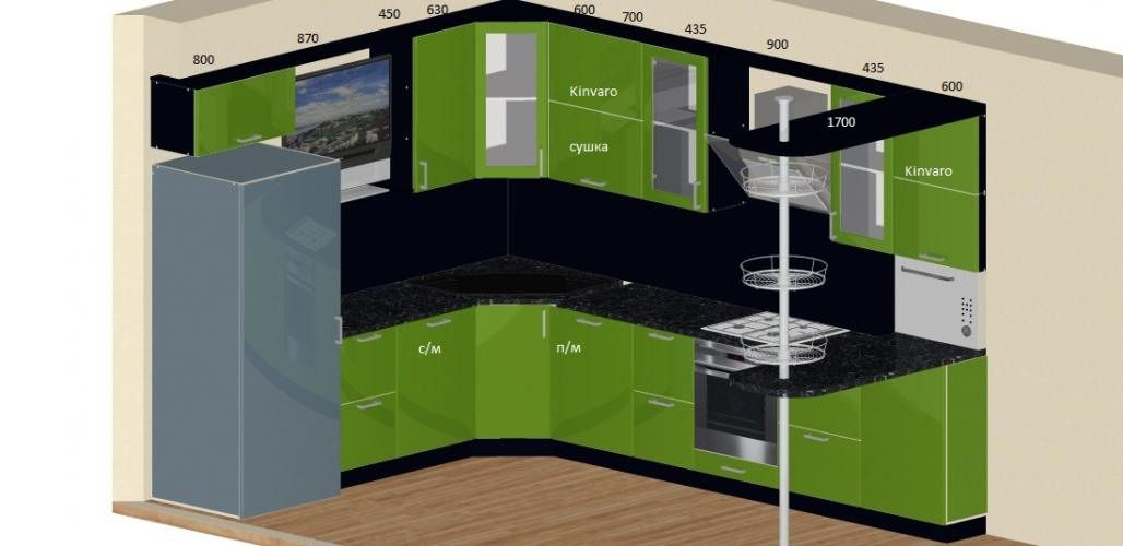 Дизайн проект кухни в цвете-Лайм глянец