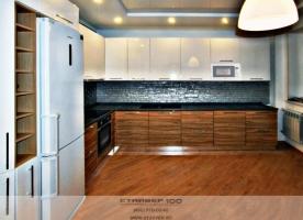 Кухня МДФ модерн Анегри и белый глянец. Фото