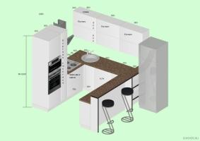 Проект п-образной кухни. Фото