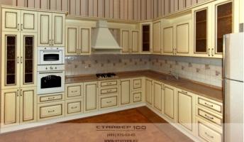 Классическая кухня из МДФ Ваниль корсико с патиной. Фото