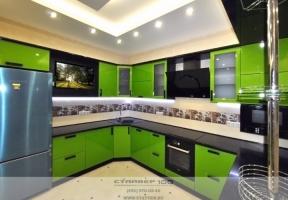 Кухня цвета лайм глянец Фото