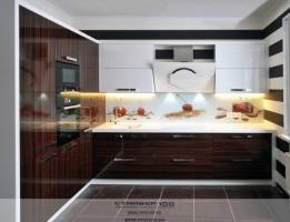 Кухня в двух цветах: Палисандр Рио и белый глянец фото