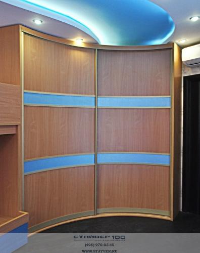 Радиусный вогнутый шкаф-купе Бирюза шелк фото