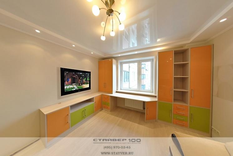 Мебель для детской комнаты  Олива и оранжевый глянец.