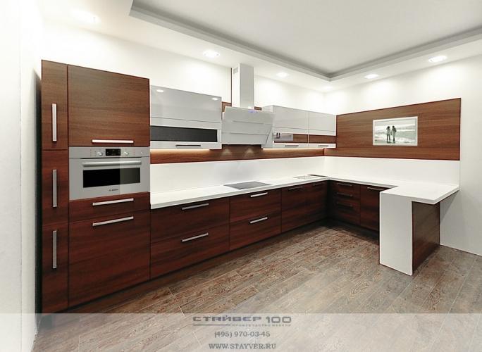 Современная кухня цвет орех и белый глянец