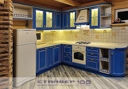 голубая кухня из массива