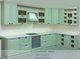 Кухня фисташкового цвета из ясеня фото.