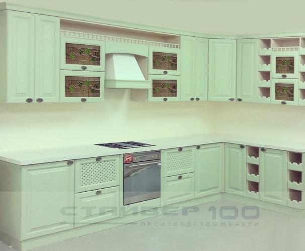Кухня фисташкового цвета из дерева фото.