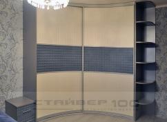 Радиусный шкаф-купе Галька серо-синяя