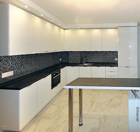 Кухня  Белый глянец и Гранит гарбо