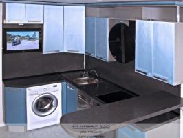 кухня голубой металлик