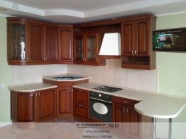 кухня с барной стойкой из натурального дерева фото.