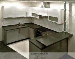 Кухня МДФ серый и белый металлик . Фото