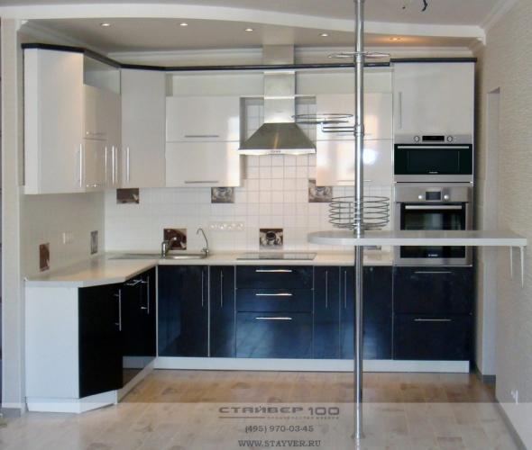 Кухня модерн черно-белый глянец фото