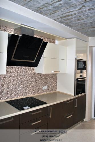 Прямая кухня цвета жемчуг фото.
