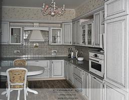 Кухня белая с серебряной патиной. Фото.