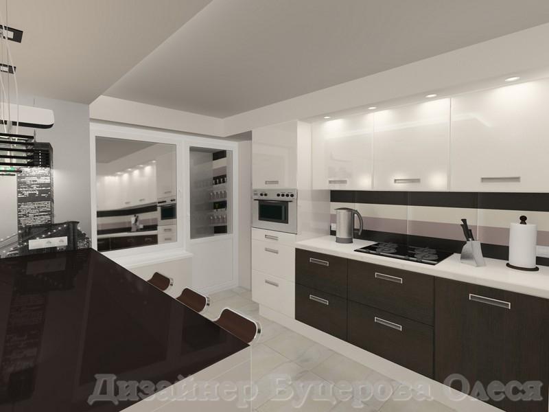 Дизайн кухни Крем брюле глянец