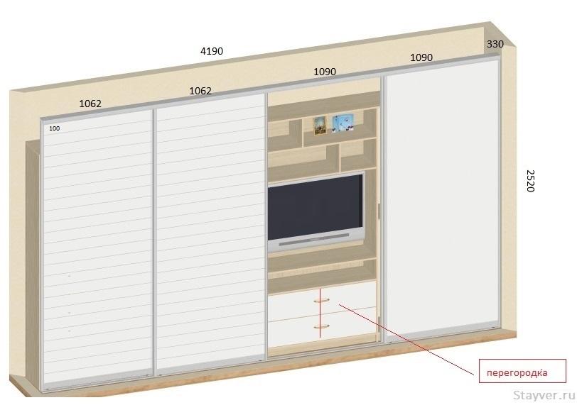 проект шкафа купе с размерами