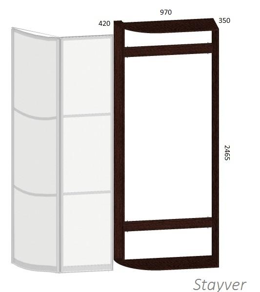 Чертеж радиусного шкафа с распашной дверью