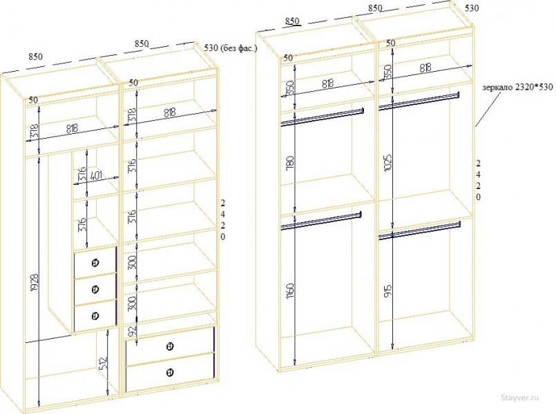 чертеж шкафа купе с размерами