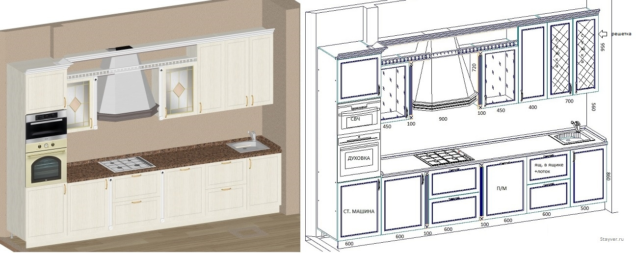 Дизайн проект с чертежоом кухни из массива дуба