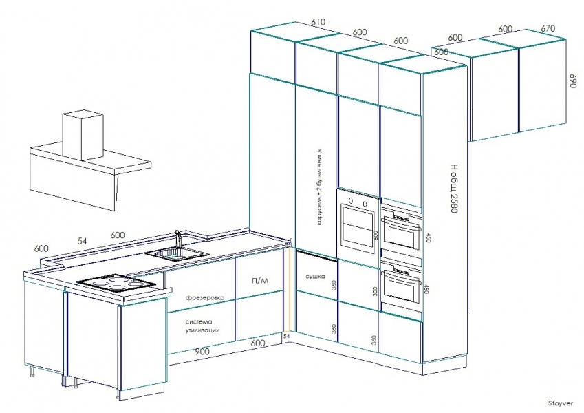 П-образная кухня чертеж