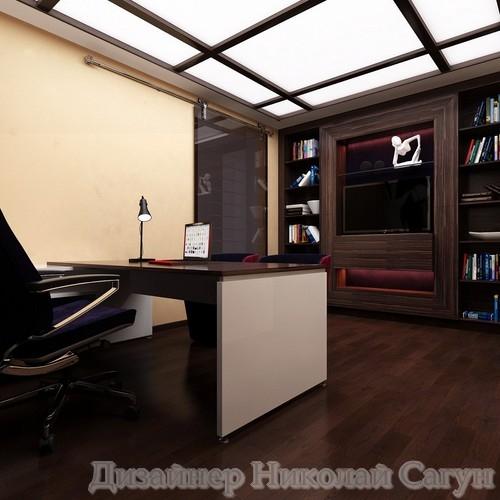 Эскиз кабинета из шпона