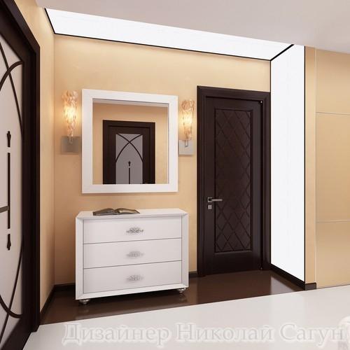 Эскиз комода из белого глянца и зеркала в кожаном багете