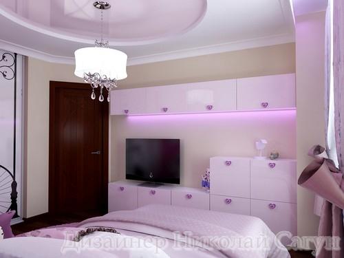 Эскиз детской мебели из розового МДФ